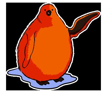 真っ赤なボディが印象的!コミカルでキュートな「ペンギンの赤ちゃん」スタンプ☆