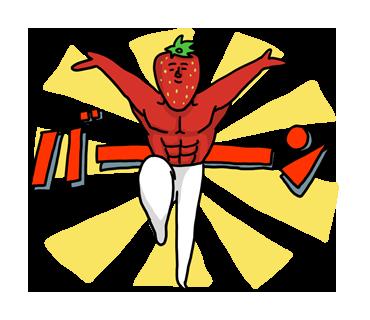 いちご×筋肉!異色の組み合わせでキモカワ感たっぷり「いちごマッチョ」スタンプ☆